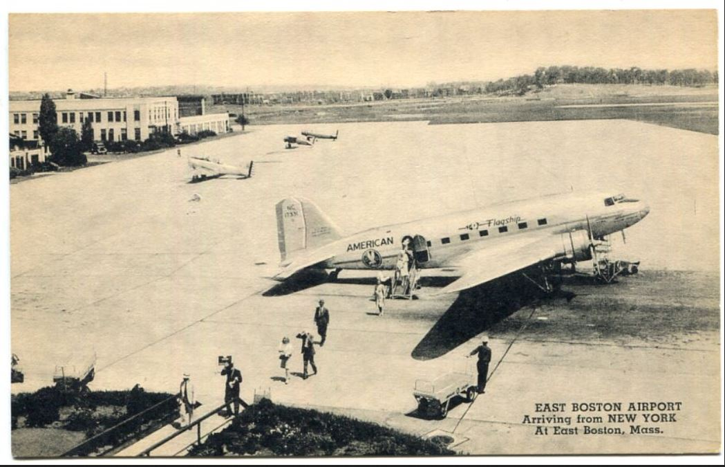 DC-3 on the ramp in 1937 or 1938 in Boston. Featured on a collectable post card in black & white.
