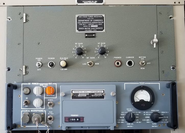 Grey, pale blue with black dial and knobs, this ATC Receiver was certified by the Civil Aeronautics Administration created by President Roosevelt in 1940.