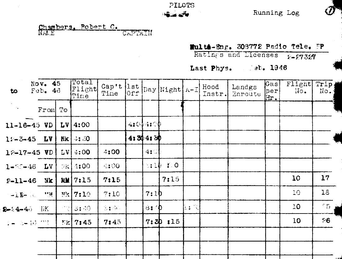 Pilots Running Log, a rare operations document found in post-WWII collection gathered by VAE Robert C Chambers. Dates of 11-16-45 and 12-17-45 From VD To LV clearly legible.