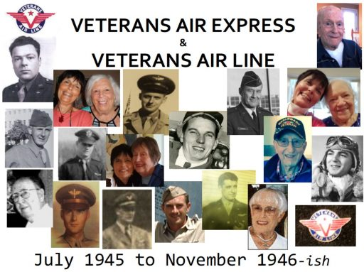 A headshot collage of 1945 Veterans Air Express crew members and families located during current research into the air line's history.