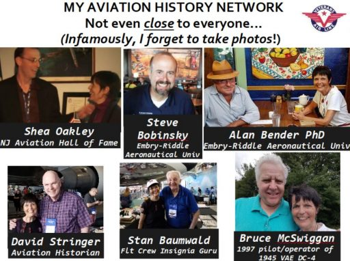 Photo collage shows five aviation historians and professionals with Gaye Lyn. They figure among the 50+ Veterans Air Express Research Network she credits as ever-diligent and sources of treasure.