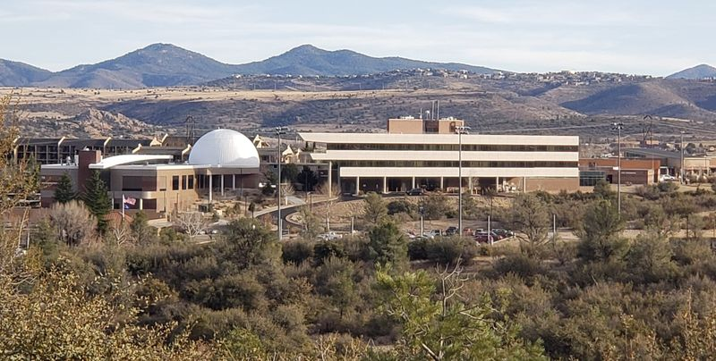 Hilltop photo captures part of the ERAU Prescott campus, buildings and planetarium. Photo is a stand-in for the one not taken while at KQNA radio station.