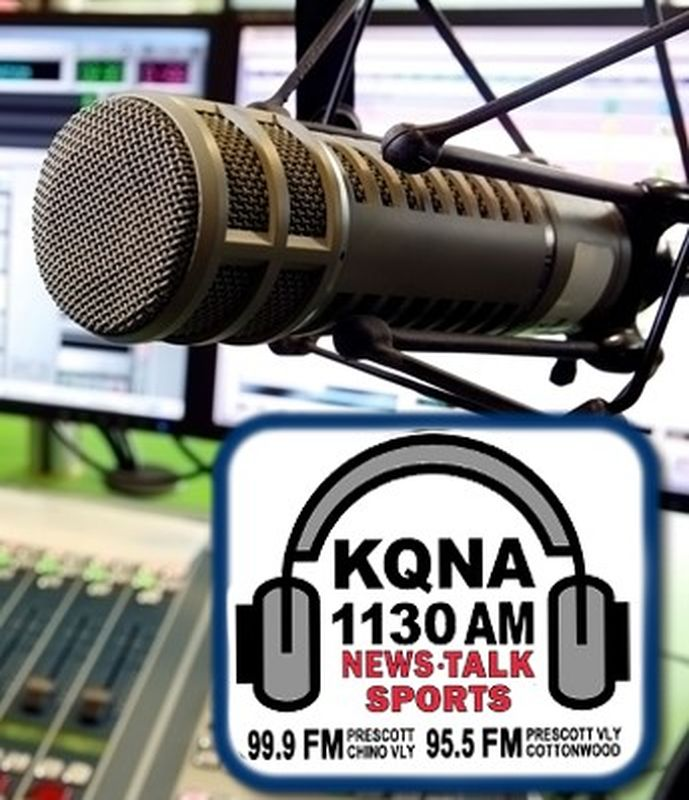 Close up photo of radio KQNA studio microphone and logo graphics of headphones and station information.