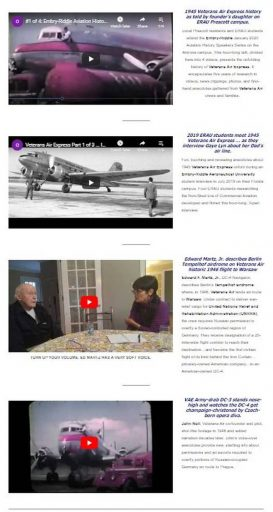 Thumbnail images of four Veterans Air YouTube videos now in the websilte Video Library.