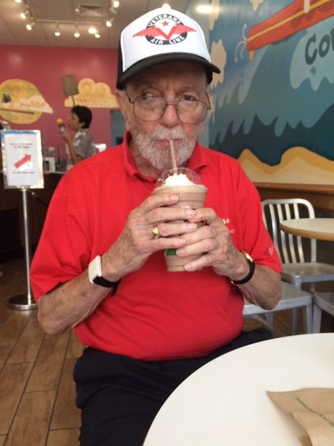 Jack Stetter, sporting a bright red shirt and Veterans Air Line cap, and sipping a huge ice cream soda.