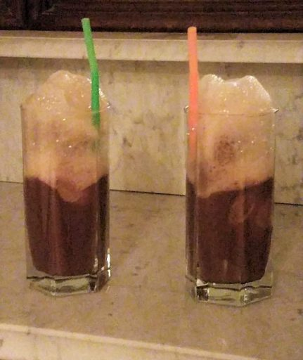 Root Beer Floats with frothy tops and straws to celebrate Jack Stettner's life.