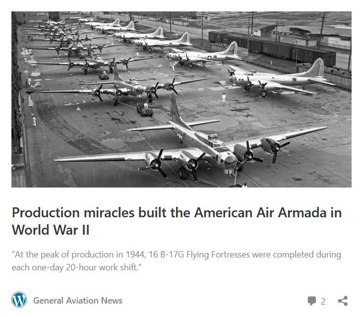 Just built B-17s in 1944. Image appears in artcile by Fred Johnsen in General Aviation News, 3/2/2020.