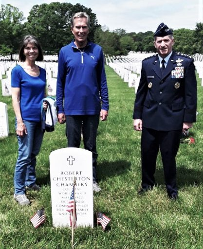 General David Goldfein, Air Force Chief of Staff with Bruce and Jan Chambers at Arlington gravesite of Robert and Janet Chambers, Bruce's parents.