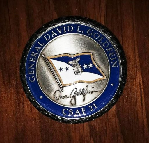 "Silver and Air Force Blue ""Challenge Coin"" of General David L. Goldfein"