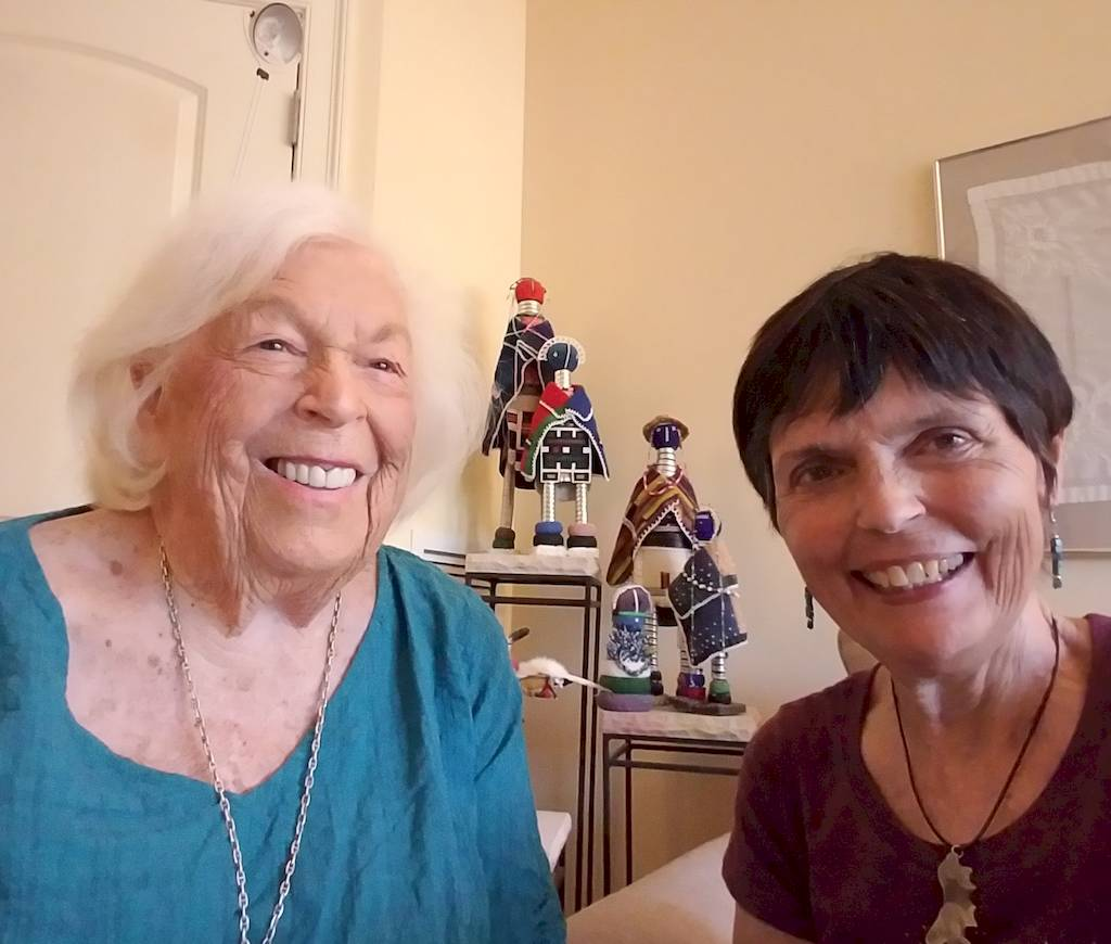 Marilyn Gries, treasured 1945 Veterans Air historian - because she was there - and airline founder's daughter, Gaye Lyn, during a June 2019 visit.